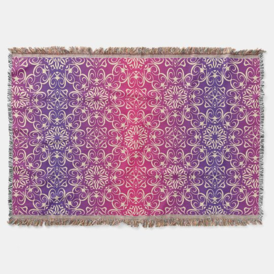 Floral luxury royal antique pattern throw blanket