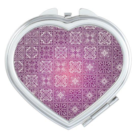 Floral luxury royal antique pattern travel mirror