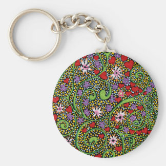 floral magic of love and creation in black basic round button key ring