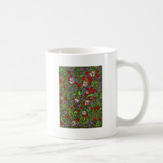 floral magic of love and creation in black coffee mug