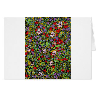 floral magic of love and creation in black greeting card