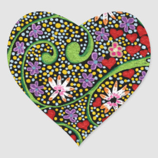 floral magic of love and creation in black heart sticker