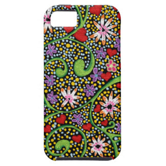 floral magic of love and creation in black iPhone 5 covers