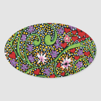 floral magic of love and creation in black oval sticker