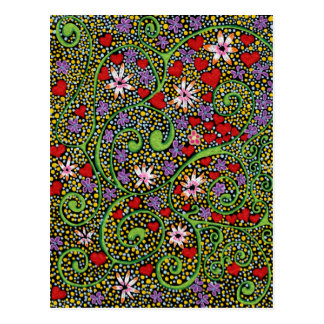 floral magic of love and creation in black postcard