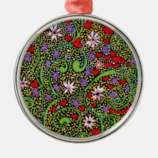 floral magic of love and creation in black Silver-Colored round decoration