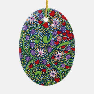 floral magic of love and creation in blue ceramic oval decoration