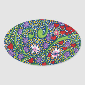 floral magic of love and creation in blue oval sticker