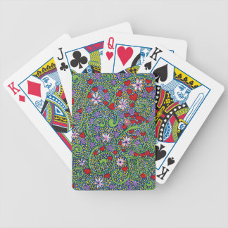 floral magic of love and creation in blue poker deck