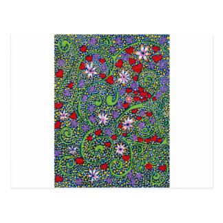 floral magic of love and creation in blue postcard