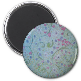 floral magic of love and creation sketch 6 cm round magnet