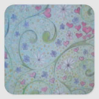 floral magic of love and creation sketch square sticker
