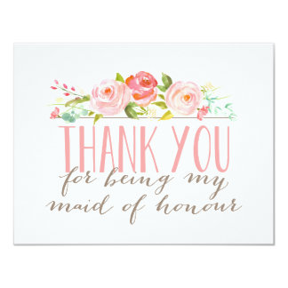 Floral Maid Of Honour Thank You 11 Cm X 14 Cm Invitation Card