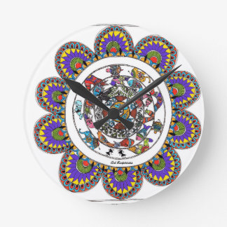 Floral mandal in Madhubani style Round Clock