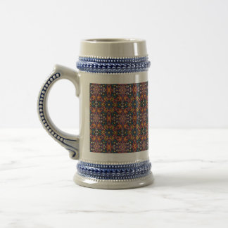 Floral mandala abstract pattern design beer stein