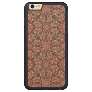 Floral mandala abstract pattern design carved maple iPhone 6 plus bumper case