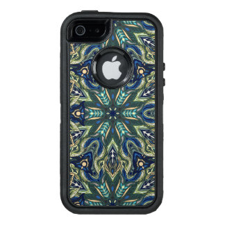 Floral mandala abstract pattern design OtterBox defender iPhone case