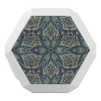 Floral mandala abstract pattern design white bluetooth speaker