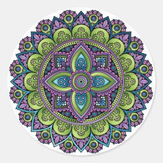 Floral Mandala Classic Round Sticker