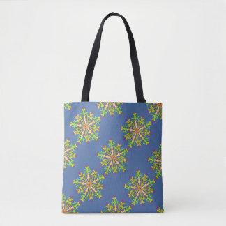Floral mandala in green tote bag
