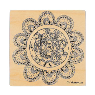 Floral mandala patterns wood coaster