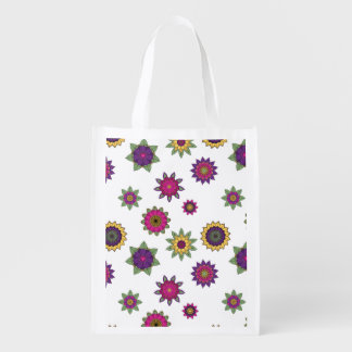 Floral Mandala Print Reusable Bag