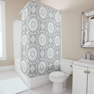 Floral mandala-style, blossoms light gray / grey shower curtain