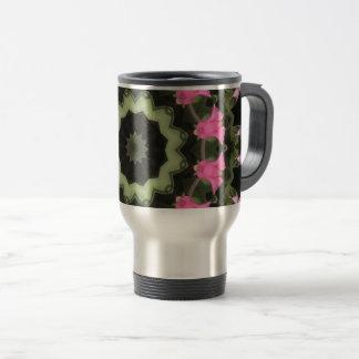 Floral mandala-style, pink blossoms, mandala 2.2 travel mug