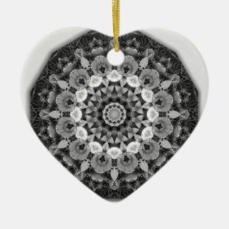 Floral mandala-style, Tulips Black, white and gray Ceramic Heart Decoration