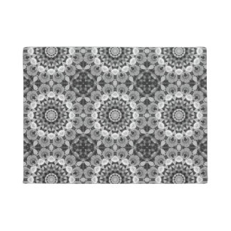Floral mandala-style, Tulips Black, white and gray Doormat