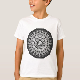 Floral mandala-style, Tulips Black, white and gray T-Shirt
