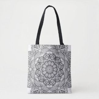 Floral Mandala Yoga Black and White Coloring Tote Bag