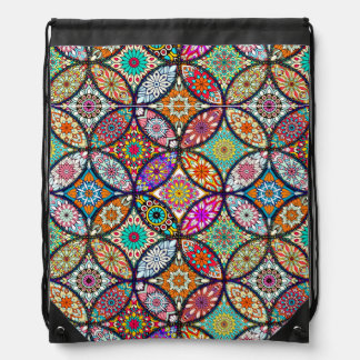 Floral mandalas creative circles art pattern drawstring bag