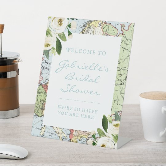 Floral Map Travel Theme Bridal Shower Welcome Pedestal Sign