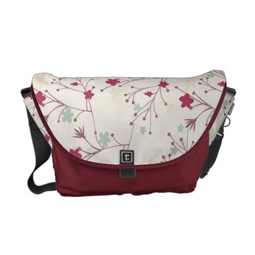 Floral Maroon Patterns Rickshaw Messenger Bag