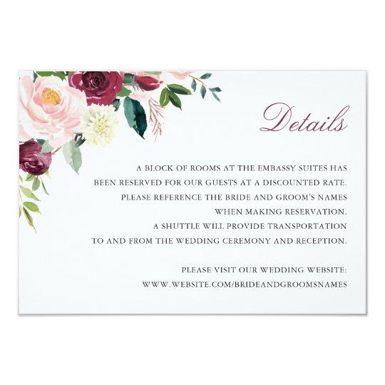 Floral Marsala Elegant Wedding Details Insert Card