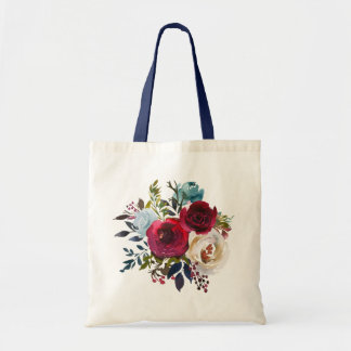 Floral Marsala Navy Merlot Tote Bag