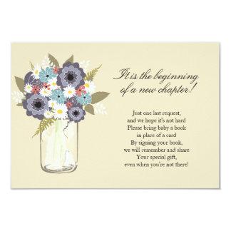 Floral Mason Jar Baby Shower 9 Cm X 13 Cm Invitation Card