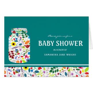 Floral Mason Jar Baby Shower Invitation