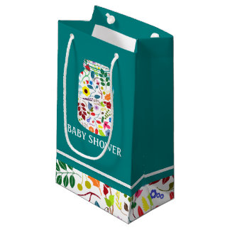 Floral Mason Jar Baby Shower Small Gift Bag