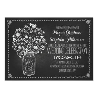 floral mason jar chalkboard wedding invitations