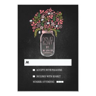 Floral mason jar chalkboard wedding RSVP 9 Cm X 13 Cm Invitation Card