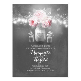 Floral mason jar lights rustic save the date postcard