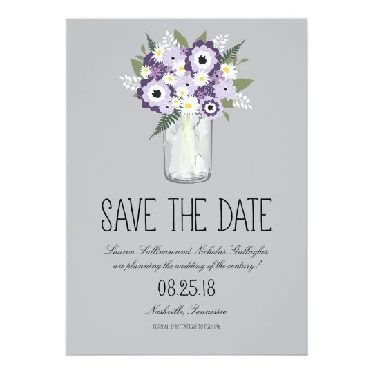 Floral Mason Jar Save the Date Card