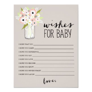 Floral Mason Jar   Wishes for Baby Card