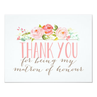 Floral Matron Of Honour Thank You 11 Cm X 14 Cm Invitation Card