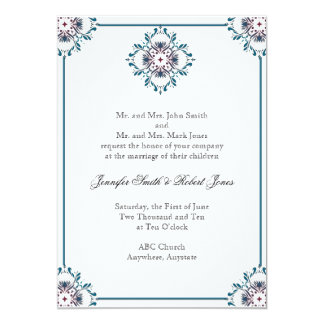"""Floral Medallion in Teal and Rose 5"""" X 7"""" Invitation Card"""