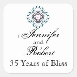 Floral Medallion in Teal Rose Envelope Seal Square Sticker