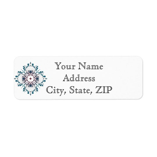 Floral Medallion Teal Anniversary Return Address Return Address Label
