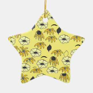 Floral mélange pale yellow and black pattern Double-Sided star ceramic christmas ornament